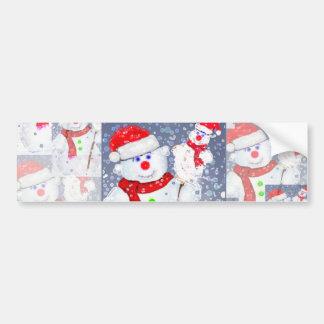 Snowmen patchwork. bumper sticker
