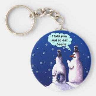 Snowmen Should NOT Eat Beans Basic Round Button Keychain