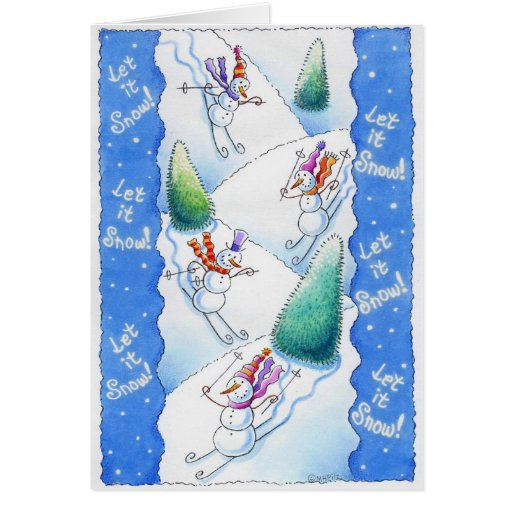 Snowmen Skiing Card