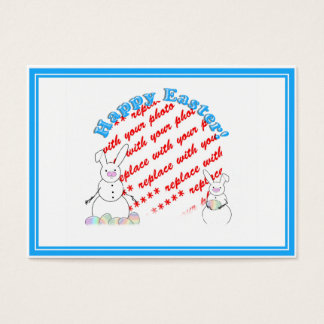 Snowmen Snow Bunnies Easter Photo Frame Business Card
