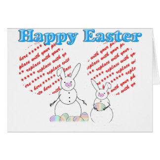 Snowmen Snow Bunnies Easter Photo Frame Card
