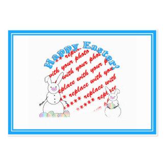 Snowmen Snow Bunnies Easter Photo Frame Large Business Card