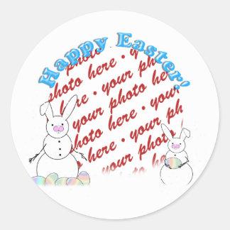 Snowmen Snow Bunnies Easter Photo Frame Round Sticker