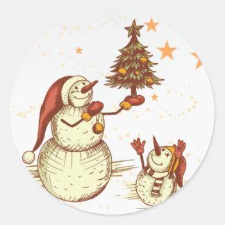 Snowmen & Their Christmas Tree Stickers