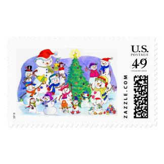 Snowmen Trimming Christmas Tree Stamp