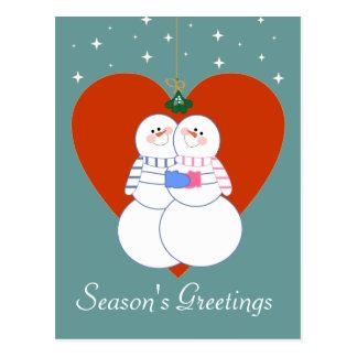 Snowmen Under The Mistletoe Postcard