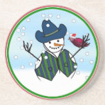 Snowmen Wearing Cowboy Hats Coaster