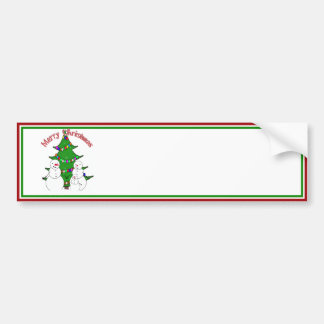 Snowmen with Christmas Tree Family Car Bumper Sticker