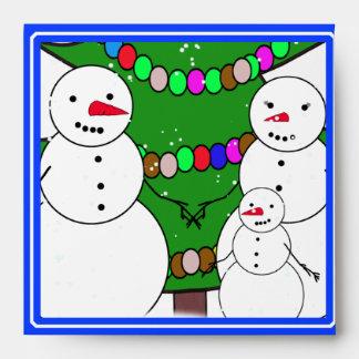 Snowmen with Christmas Tree Family Envelopes