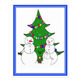 Snowmen with Christmas Tree Family Postcard