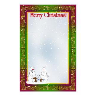 Snowmen with Christmas Tree Family Stationery