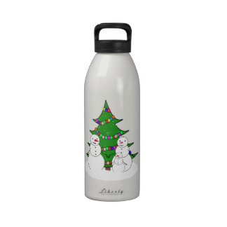 Snowmen with Christmas Tree Family Drinking Bottles