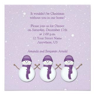 Snowmen with Purple Hats Scarves Christmas Invitat Card