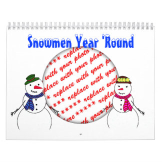 Snowmen Year round  Calendar Photo Frame Wall Calendars