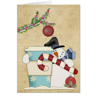 Snowmenj with coffee greeting cards
