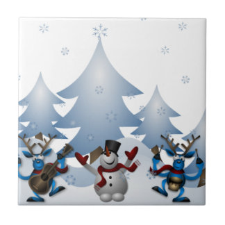 Snowmens & Reindeers Small Square Tile