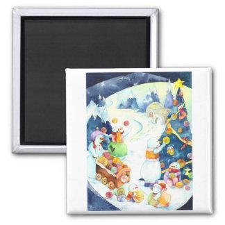 Snowmen's Yarn Ball Christmas Tree Magnet
