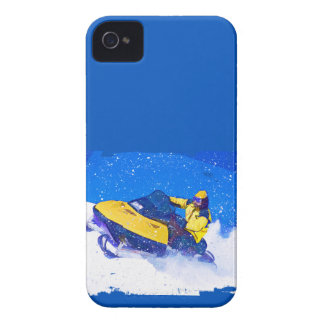 Snowmobile amarillo en ventisca iPhone 4 Case-Mate cobertura