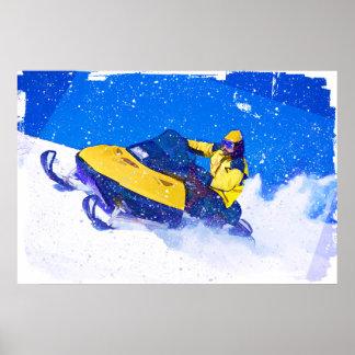 Snowmobile amarillo en ventisca poster