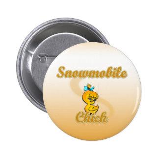 Snowmobile Chick Pinback Button