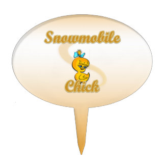 Snowmobile Chick Oval Cake Pick