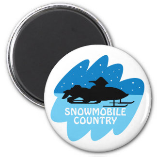 Snowmobile Country 2 Inch Round Magnet