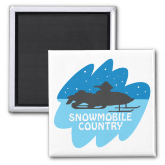 Snowmobile Country 2 Inch Square Magnet