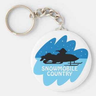 Snowmobile Country Basic Round Button Keychain