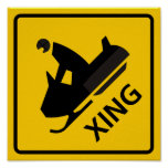 Snowmobile Crossing Highway Sign