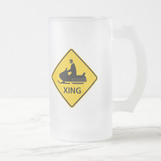 Snowmobile Crossing Highway Sign Frosted Glass Beer Mug
