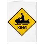 Snowmobile Crossing Highway Sign Greeting Card