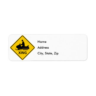Snowmobile Crossing Highway Sign Return Address Label