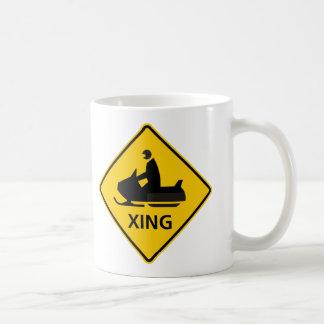 Snowmobile Crossing Highway Sign Classic White Coffee Mug