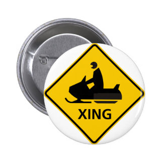 Snowmobile Crossing Highway Sign Pinback Button