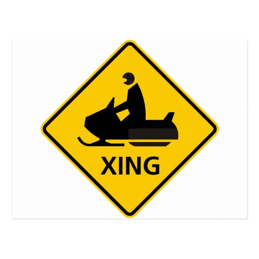 Snowmobile Crossing Highway Sign Postcard