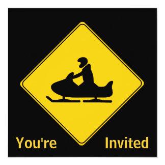 """Snowmobile de la muestra de camino invitación 5.25"""" x 5.25"""""""