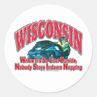 Snowmobile de Wisconsin Pegatina Redonda