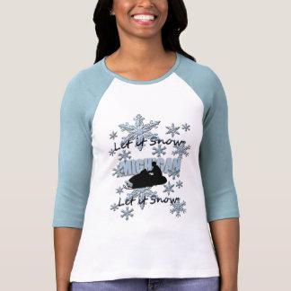Snowmobile Let it Snow Michigan RaglanT-shirt Tshirts
