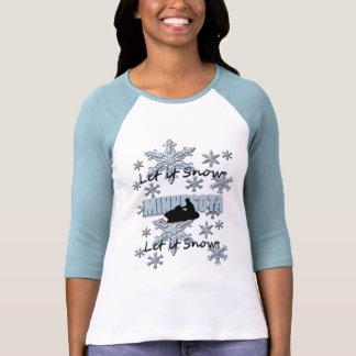 Snowmobile Let it Snow Minnesota Raglan T-shirt