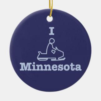 Snowmobile Minnesota en azul Adorno Redondo De Cerámica