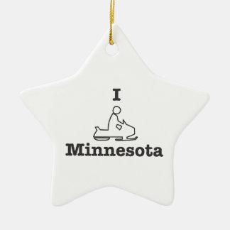 Snowmobile Minnesota en negro Adorno De Cerámica En Forma De Estrella
