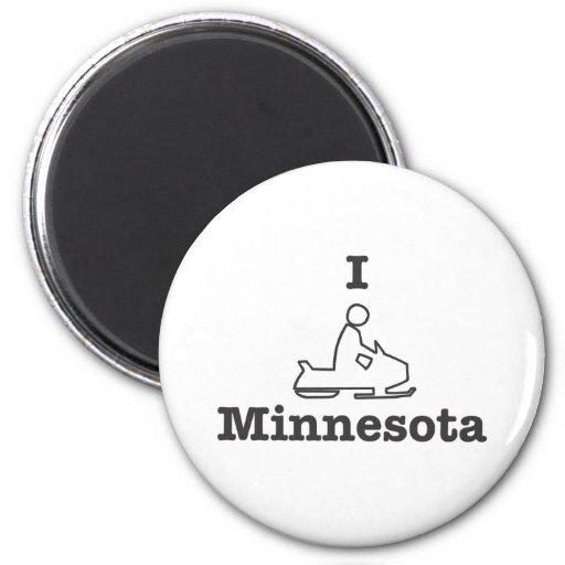 Snowmobile Minnesota Imán Redondo 5 Cm