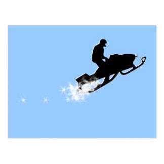 snowmobile. powder trail. postcard