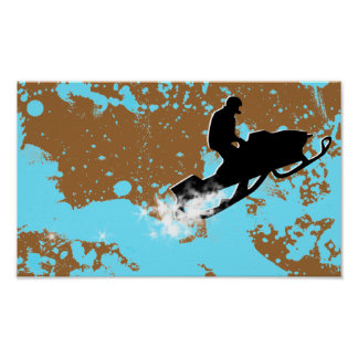 snowmobile. powder trail. poster