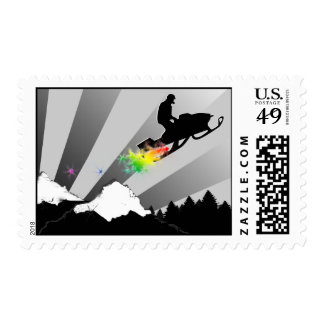 snowmobile. rainbow. postage stamp