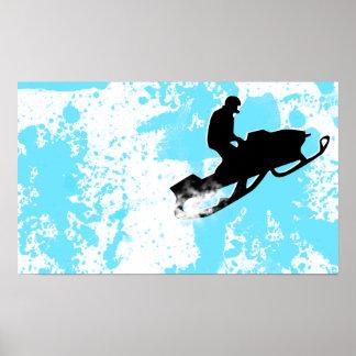 snowmobile. rastro del polvo poster