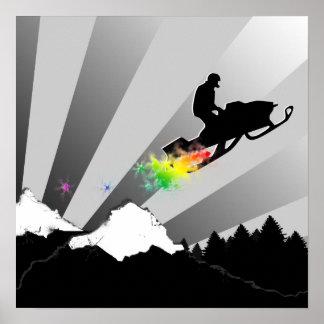 snowmobile. rastro del polvo póster