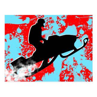snowmobile. rastro del polvo tarjetas postales