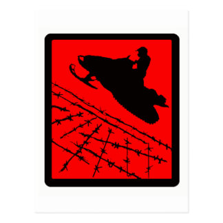 SNOWMOBILE RED WIRED POSTCARD