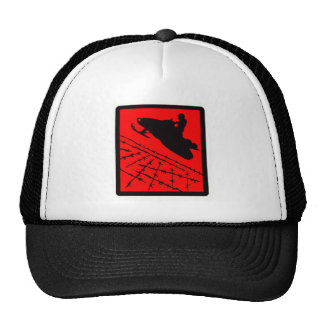 SNOWMOBILE RED WIRED TRUCKER HAT